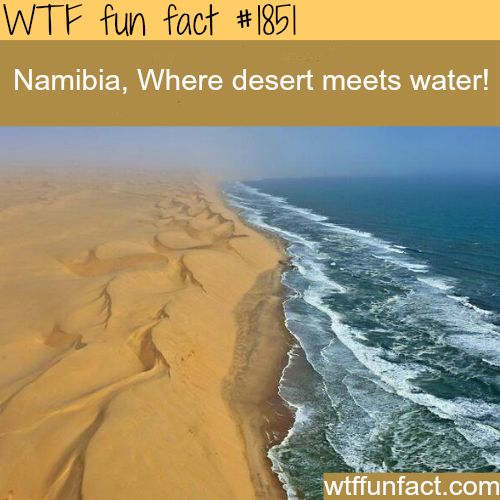 Namibia, desert meets water - WTF fun facts
