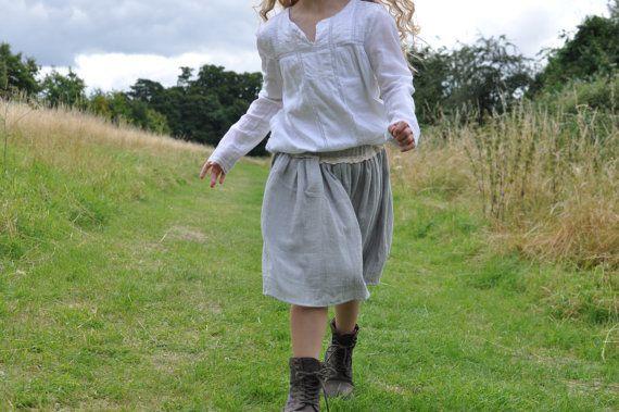 Girls+Skirt++Grey+Linen+Twirl+Skirt+Childrens+Clothing