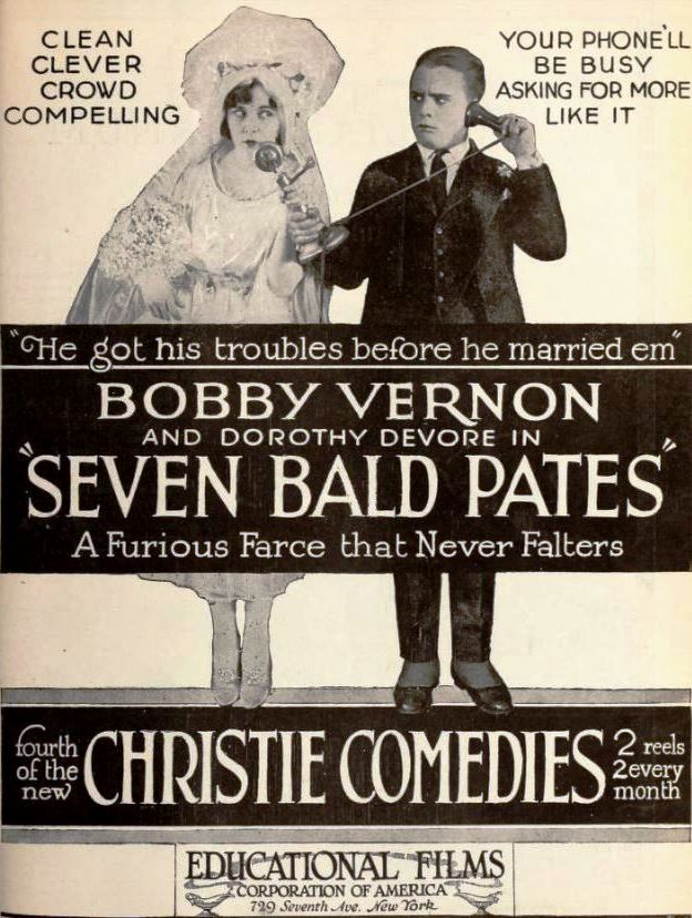 Advertisement for the american comedy short film seven for Farcical comedy movies