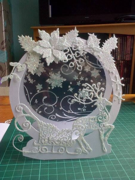 snow globe card using tattered lace dies
