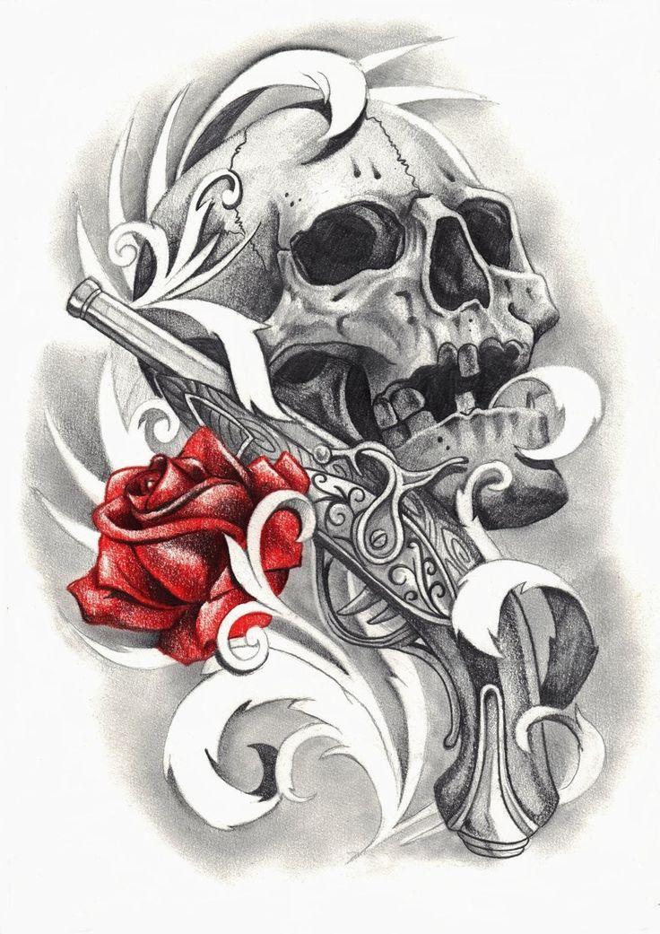 dessin tatouage tte de mort rose et pistolet