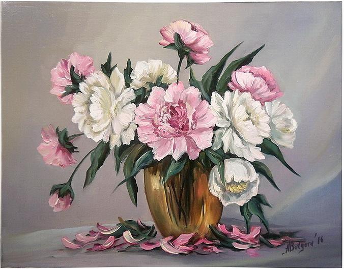 Розовые и белые пионы (2).  Стена Анка Bulgaru