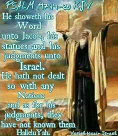 Praise Ahayah Ashar Ahayah!  For giving us His Laws, statutes, and commandments for he delt with NO other Nation BUT Israel 12 Tribes = 1 Nation Qam Yasharahla!