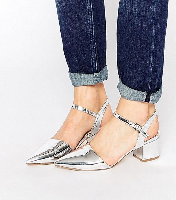 New Look Metallic Pointed Mid-Heeled Shoes