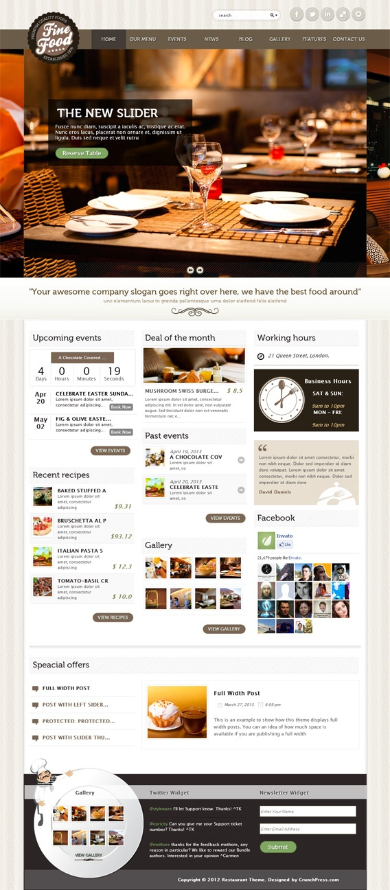 Fine Food, #WordPress Responsive Restaurant Theme : http://wordpress.premiumthemes.im/fine.food.wordpress.theme.html