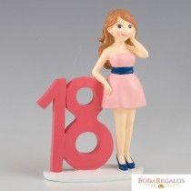 Simpática figura de pastel para celebrar los 18 años de una chica. Es una figura de una adolescente vestida de forma formal con un un vestido rosa corto y apoyada sobre el número 18. Es la figura de pastel perfecta para agasajar a la chica del cumpleaños y hacer que su tarta luzca más si es posible. Será el recuerdo perfecto para un dia inolvidable. #tiendaonline #cumpelaños #18cumpleaños