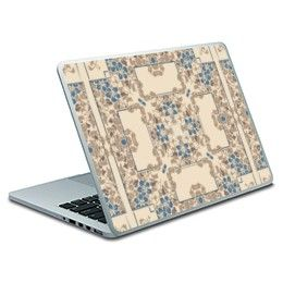 Light cream brown and blue floral pattern Macbook Pro Skin