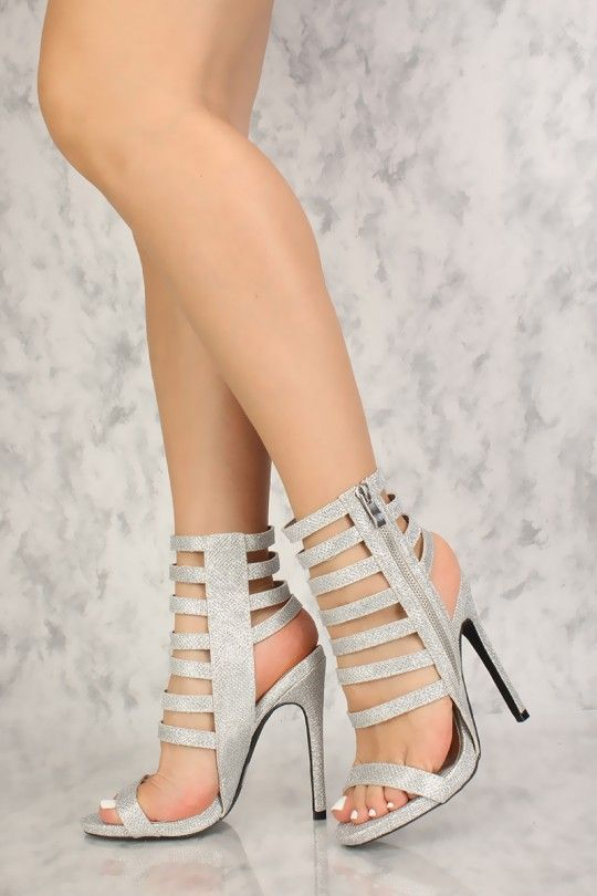 0295d81b9851 Sexy Silver Glitter Strappy Open Toe Single Sole High Heels