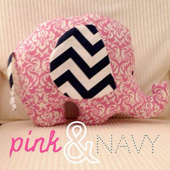 pink and navy elephant for baby girl nursery