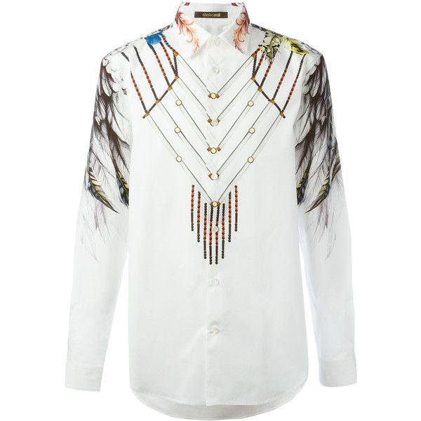 Roberto Cavalli wing printed shirt (7.568.420 IDR) ❤ liked on Polyvore featuring men's fashion, men's clothing, men's shirts, men's casual shirts, white, mens white shirts, mens wing collar shirt, mens white casual shirt and roberto cavalli mens shirt