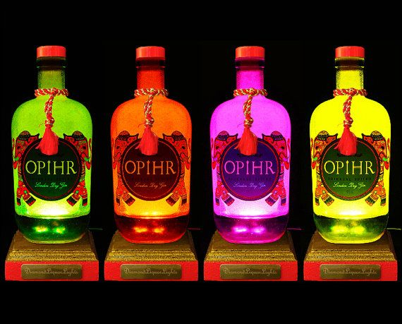 Upcycled Opihr Gin Bottle Lamp With by DiamondLiquorLights on Etsy