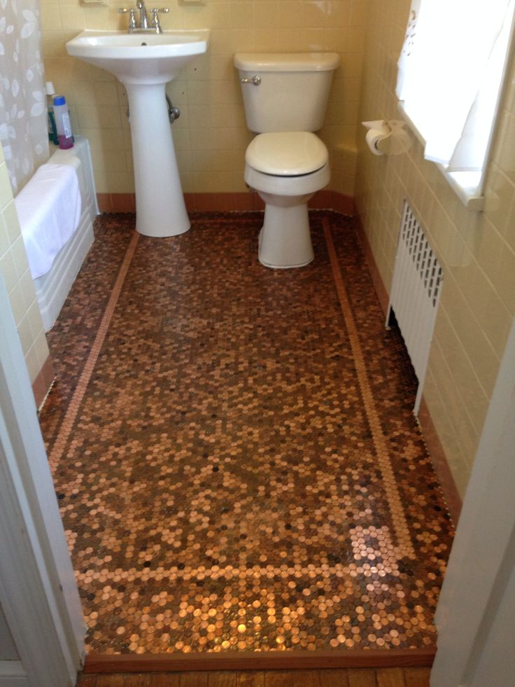 31 best penny tile step by step how to images on pinterest for Floor of pennies