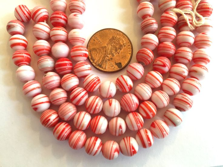 vintage beads japan 24 red stripe white opaque glass beads occupied japan cherry brand rounds 7mm 8mm 24