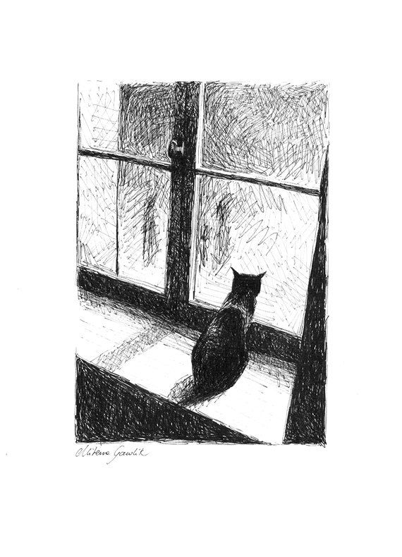 ^^^^^^^^^^    NIGHTLY CAT #7    Every cat is a magician, whose head happens more than we can imagine.  - Author Unknown    Interesting and mysterious ink drawing
