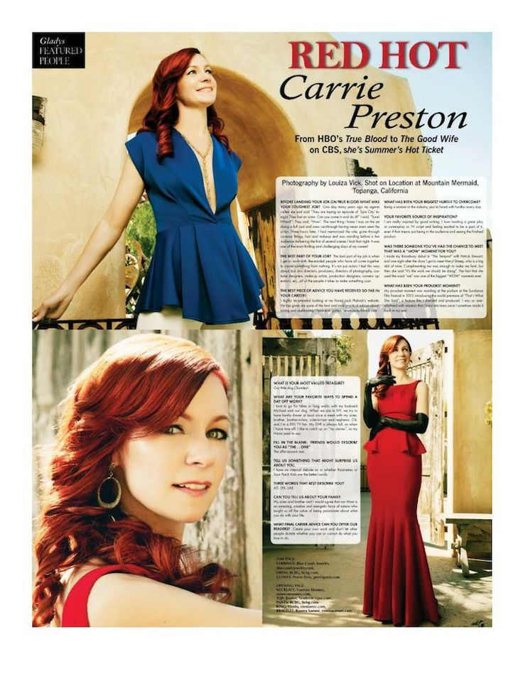 Red Carpet Fashions by Gladys Magazine Designer – Dress (BCBG) Gloves (Perrin Paris) Modeled by Actress Carrie Preston for the Summer 2013 Gladys