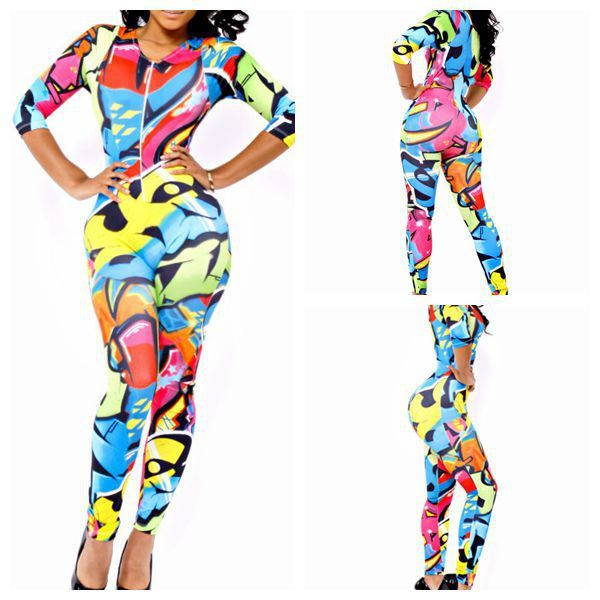rompers womens jumpsuit 2014  Sexy Bandage Bodysuits  Fashion High Waisted Cropped Casual Bodycon Neon Print Playsuits  $16.99