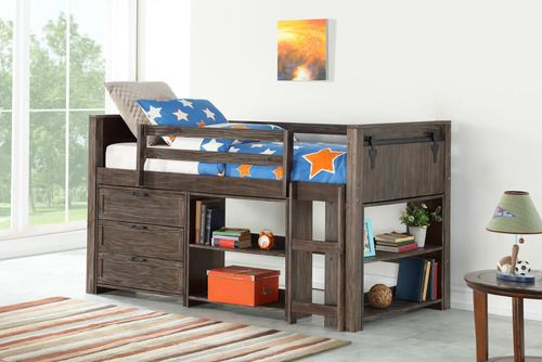 4 Pc Barn Door Loft Brushed Shadow Low Loft Beds Loft Bed Low Loft