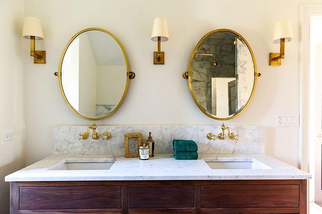 Brass Mirror Bathroom Cottage Style Homes, Brass Bathroom Mirrors