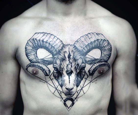 Masculine Ram Linework Guys Chest Tattoos