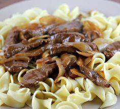 """Venison Stroganoff Recipe venison 1 1/2 tsp salt 2 tsp pepper 3 tbs butter 1 tbs flour 1 cup Beef Consommé 1 tsp prepared hot mustard 3 tbs sour cream 1 onion (sliced) Egg noodles or wild rice. Slice venison 1/ 8"""" strips Season with salt and pepper Melt 1 1/2 tsp butter in a large skillet. Blend in flour, then add the Beef Consommé; boil; add mustard, sour cream, Using the rest of the butter and another skillet brown the venison and onion, then add to sauce. simmer for 20 minutes."""