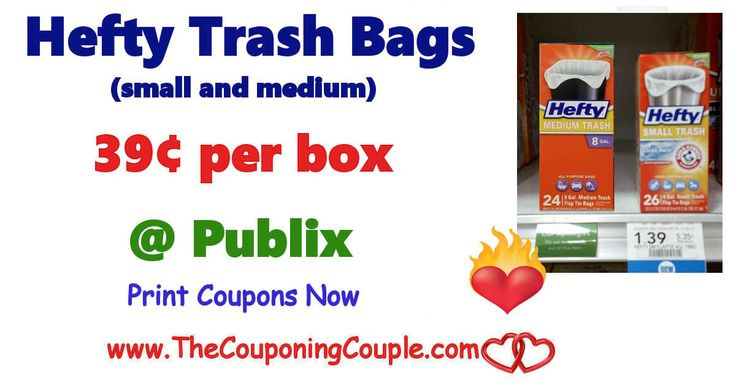 Hefty Medium Or Small Trash Bags Only $0.39 Per Box @ Publix. This deal is live, so get your coupons printed and add a couple boxes to list!  Click the link below to get all of the details ► http://www.thecouponingcouple.com/hefty-medium-or-small-trash-bags-only-0-39-per-box-publix/ #Coupons #Couponing #CouponCommunity  Visit us at http://www.thecouponingcouple.com for more great posts!