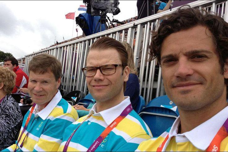 Le prince Carl Philip de Suède avec le prince Daniel aux Jeux Olympiques de Londres, en juillet 2012