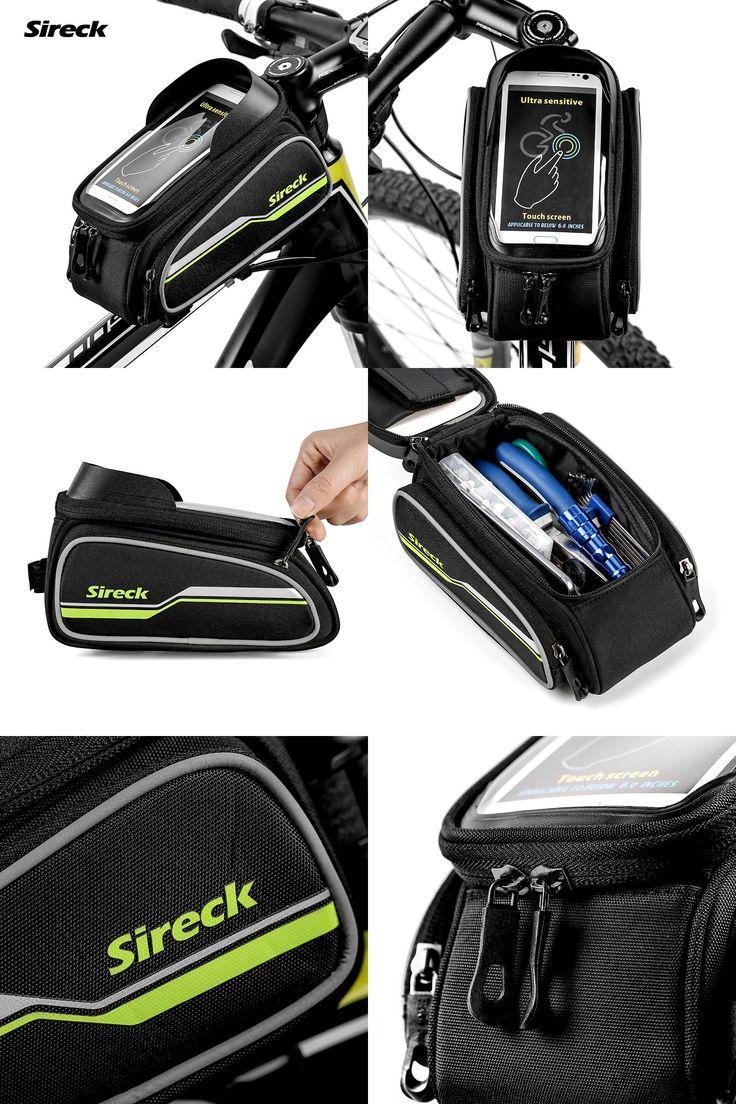 "[Visit to Buy] Sireck MTB Bike Bag  6"" Touchscreen Bicycle Frame Saddle Bag Cycling Top Tube Bag Phone Case Bike Accessories 2017 Borsa Bici #Advertisement"