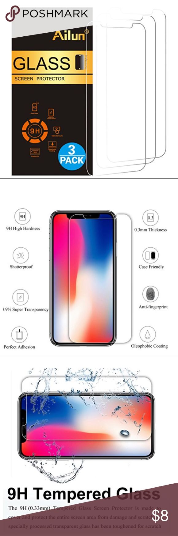3 IPHONE 10 SCREEN PROTECTORS 3 pack iPhone 10/X Screen Protector,iPhone 10 Screen Protectors. 2.5D Edge Tempered Glass. Anti-Scratch, Case Friendly. Enjoy! Accessories Phone Cases