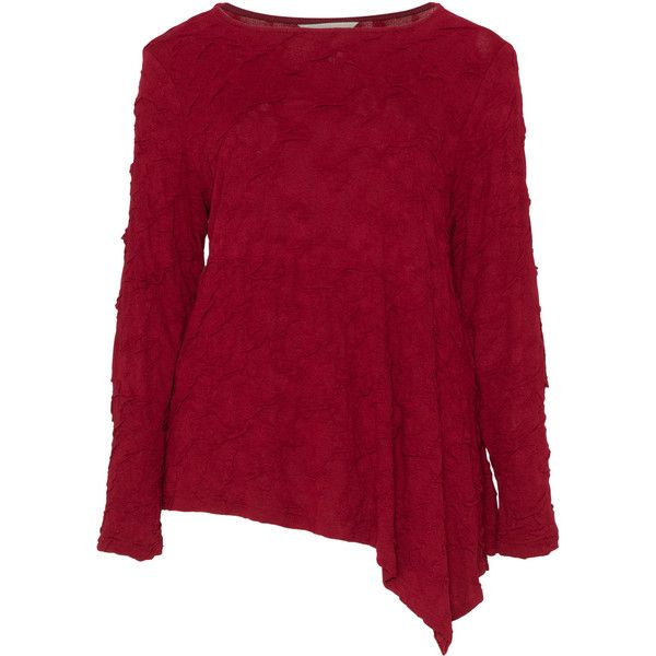 Isolde Roth Bordeaux-Red Plus Size Textured asymmetric top ($185) ❤ liked on Polyvore featuring tops, plus size, flared top, long sleeve tops, red top, purple long sleeve top and asymmetrical hem top