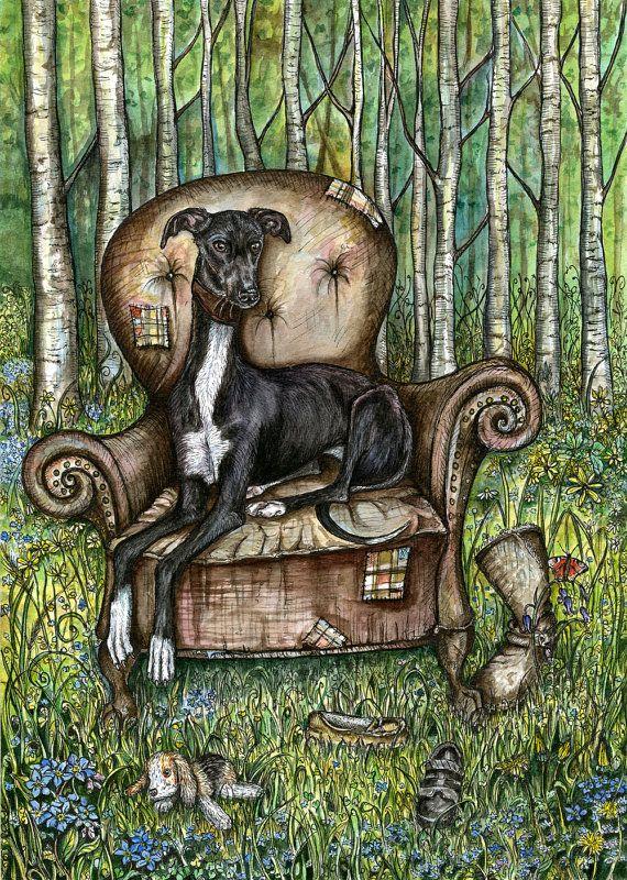 Perro de impresión arte por AlmostAnAngel66 en Etsy