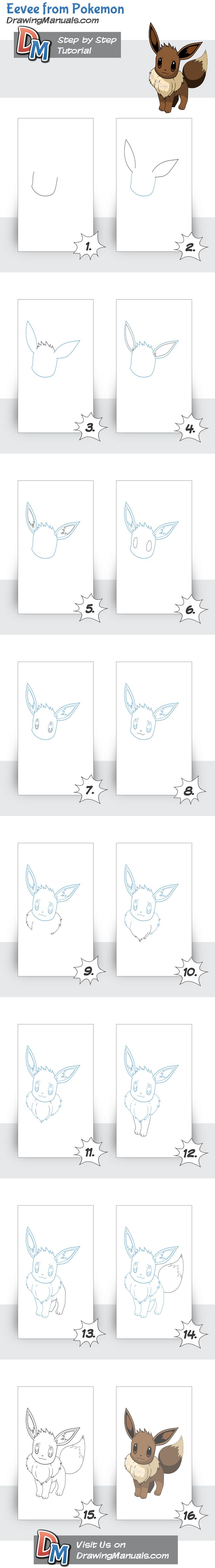 How to draw Eevee from Pokemon                                                                                                                                                                                 Mais