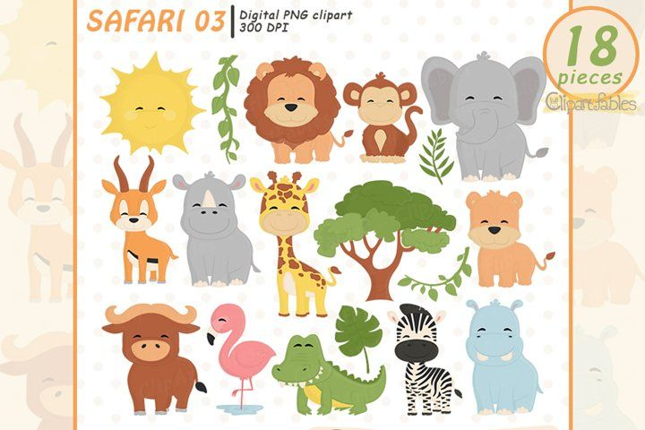 Safari Wild Animals Cute Baby Animals Clipart 842653 Illustrations Design Bundles In 2021 Cute Baby Animals Safari Baby Animals Animals Wild
