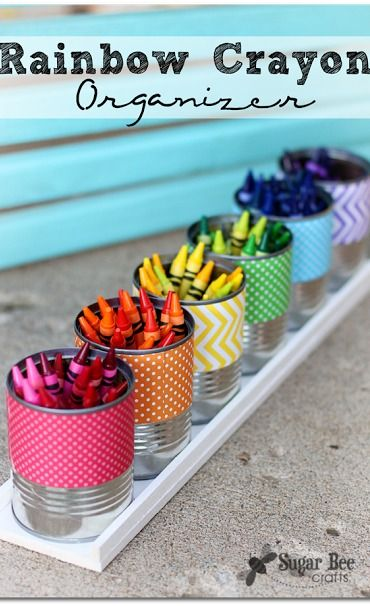 how to make a Rainbow Crayon Holder - awesome back-to-school craft - -  Sugar Bee Crafts