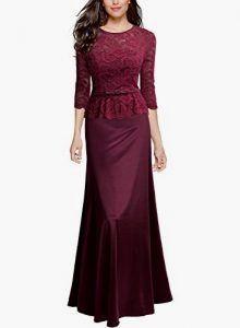 Miusol Damen Abendkleid 3/4 Arm Elegant Spitzen Kleid Brautjungfer Langes Cocktailkleid Weinrot Gr.XL    #abendkleidung #abendkleiderberlin #cocktailkleidshopping #cocktailkleiderbymerhi