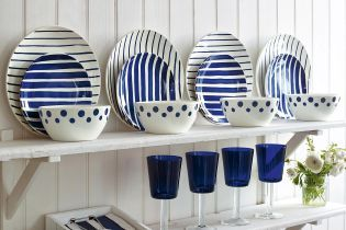 12 Piece Hand-Painted Breton Dinner Set from Next