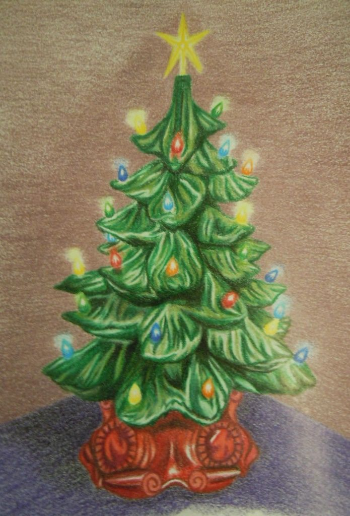 Merry Christmas This Is A Ceramic Tree Drawing In Colored Pencil That I Made For My Mom For Christmas Freehand Tree Drawing Christmas Tree Skirt Christmas