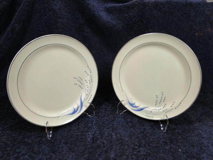 Taylor Smith Taylor Premier Blue Wheat Dinner Plate - TWO - Attn: TST Collectors #TaylorSmithTaylor