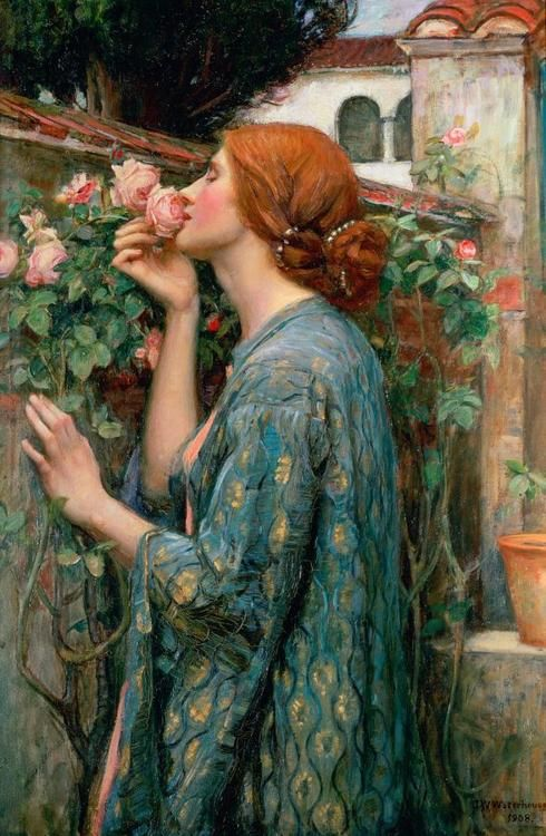 The Soul of the Rose, 1908 By: John William Waterhouse of The Modern Pre-Raphaelites. He was a contemporary of the Impressionistic artists. Beautiful!