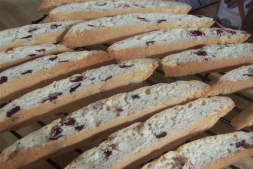 Lovely easy to make biscotti which sliced almonds. If you prefer a stronger almond flavour, use almond essence instead of vanilla.