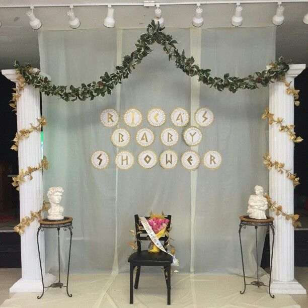 Backdrop for the stage of the greek-themed baby shower that I hosted. Purchased…