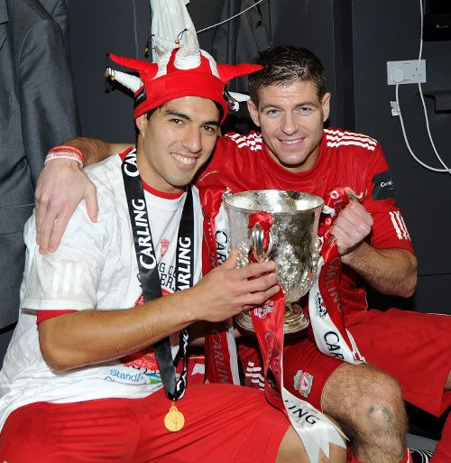 With Luis Suarez in the Wembley dressing room 2012