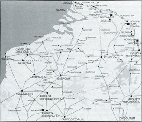 WEGENNET // in Gallie -Het wegennet in Noord-Gallie en Germana inferior tijdens de eerste eeuw na Chr.
