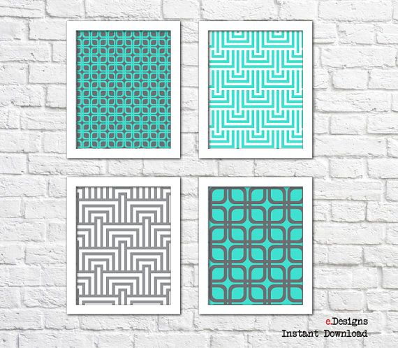 Printable Geometric Wall Art Turquoise and Grey Wall by eDesignss