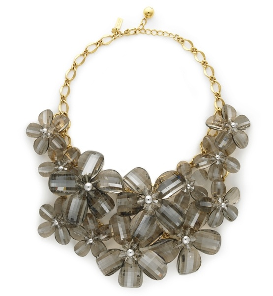 Gilding The Lily  Adorn yourself with a big, floral, smoky-hued necklace, perfect for making a statement with your eveningwear.  Kate Spade Necklace: Glasses Flowers, Statement Necklaces, Spade Bibs, Costumes Jewelry, Delacort Bibs, Kate Spade, Spade Necklaces, Bibs Necklaces, Chunky Necklaces