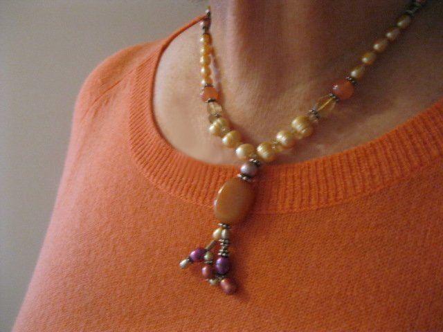 Orange Carnelian CItrine Gold Pearl Sterling by JulleenJewels