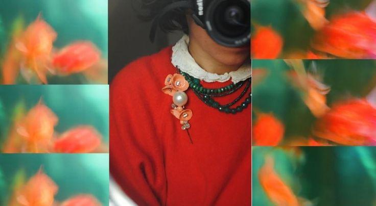 Self Portrait Mimosa\-2 The Dream\ Rüya  #MrsMimosa #brooches #pins #handmade #yakaiğneleri #elyapımı #broşlar #bijoux #bijüteri #salmonpink #salmonflowers #artdeco