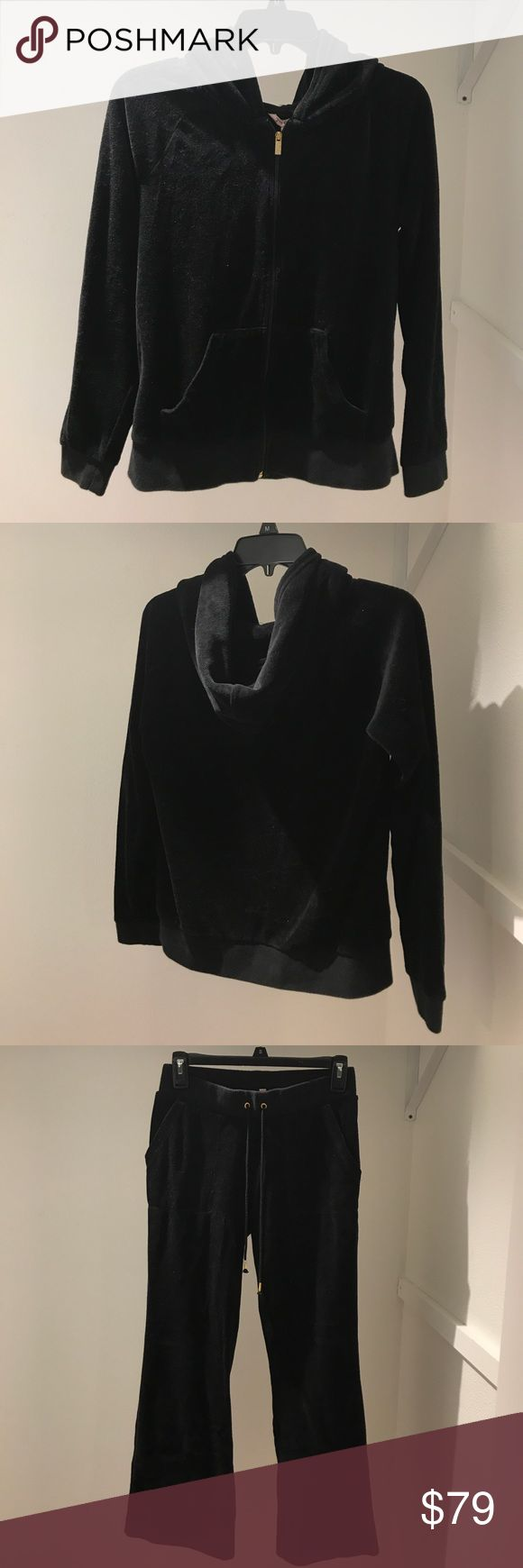 Black Juicy Couture Velour Tracksuit Brand new w/ out tags, only worn once, top can fit a sm/ med, bottomed fit a sm/ med. I'm about 5'7 & the pants reach a little past my ankles  ....(The more you buy, the more I lower my prices so bundle & save!!) Juicy Couture Tops Sweatshirts & Hoodies