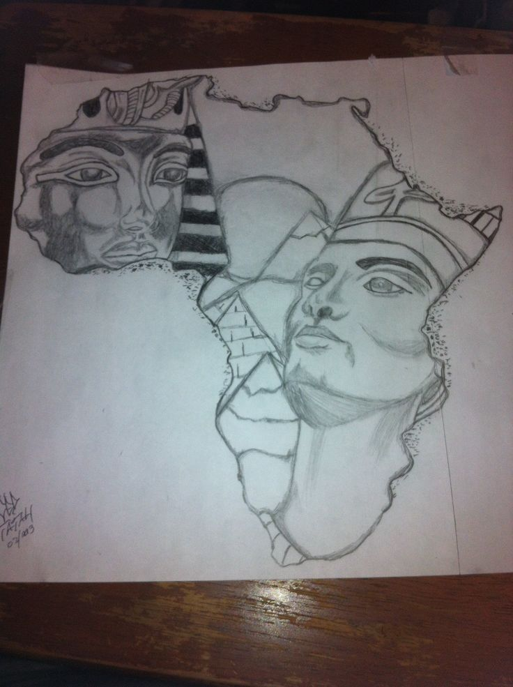African Queen Tattoos | King Tut And Queen Nefertiti Africa Outline Drawing By Ced Tatau ...