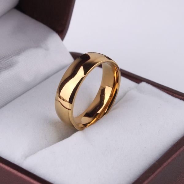 Золотое кольцо мужчины / женщины подарок 18 К настоящее золото 6 мм в ширину классический золото обручальные кольца для мужчин ювелирные изделия sa955