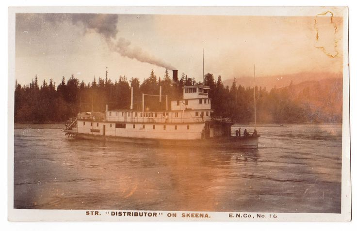 "BC – SKEENA RIVER, Grand Trunk Steamer ""Distributor c.1908 RPPC"